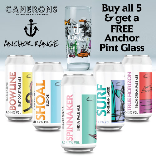 CAMERONS ANCHOR CANS X 5 PLUS FREE GLASS