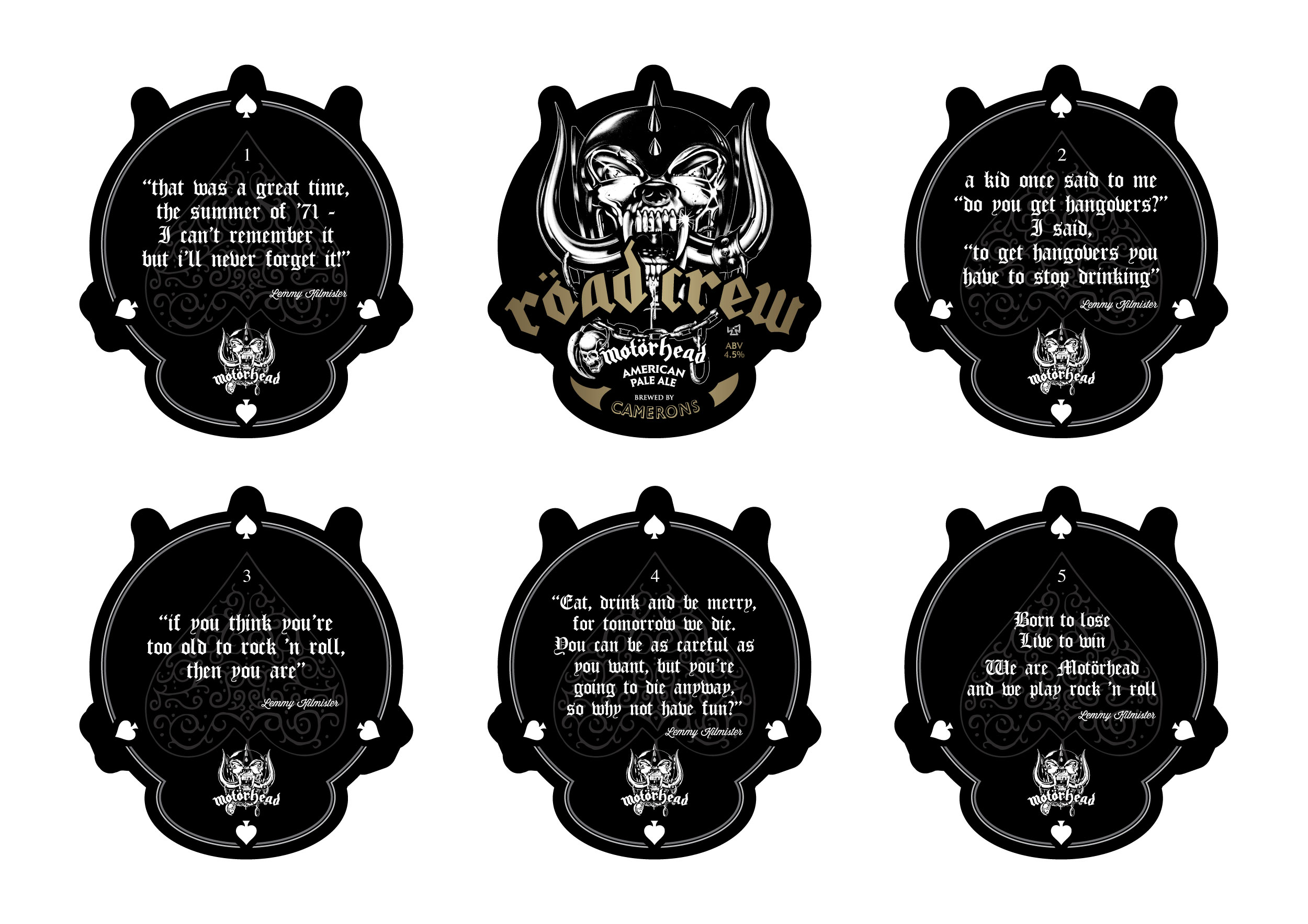 Motörhead Röad Crew Beer Mats Set Of 5
